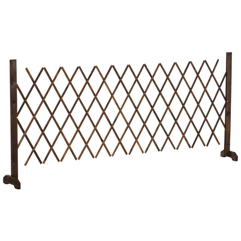 Barierka ogrodzenie płotek harmonijkowy rozciągane 35-300 cm drewno karbonizowane Outsunny