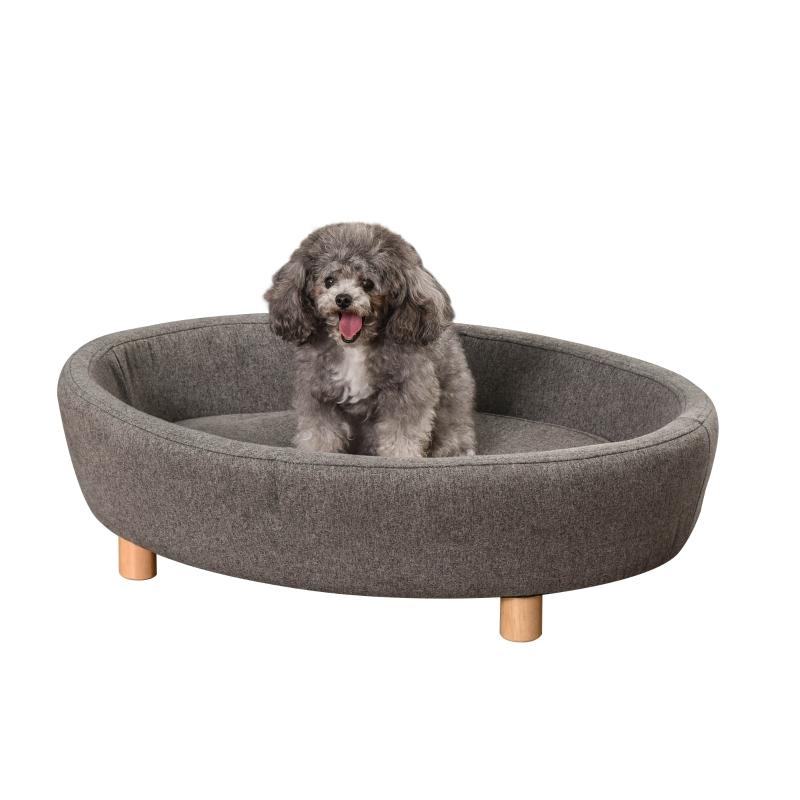 Sofa dla zwierząt domowych Sofa dla psa średniej wielkości psy koty owalna ciemnoszary