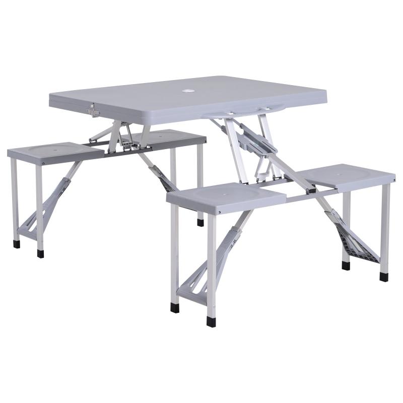 Stół kempingowy zestaw piknikowy składany 4 krzesła aluminium Outsunny