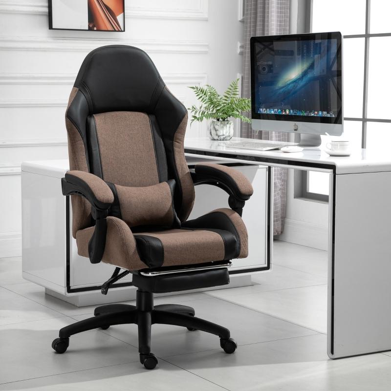 Krzesło biurowe ergonomiczne krzesło gamingowe krzesło obrotowe z podnóżkiem len brązowy