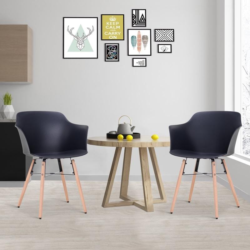 Homcom® Krzesła do Jadalni Zestaw 2-częściowy Skandynawski Antypoślizgowe i Odporne na Zarysowania Stabilne PP Czarny 58,5 X 54,5 X 78 cm