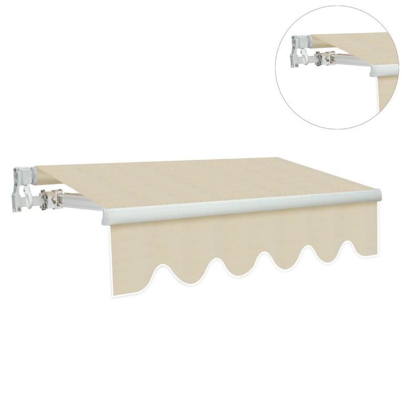 Markiza Markiza aluminiowa Markiza z aluminiowym ramieniem przegubowym 4,5 x 3 m Ochrona przed słońcem balkon beżowy
