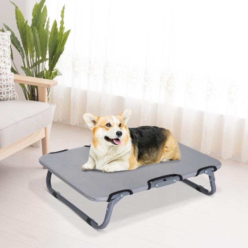 PawHut® Leżanka dla psa Legowisko Łóżko Miejsce do spania dla kota składana szara