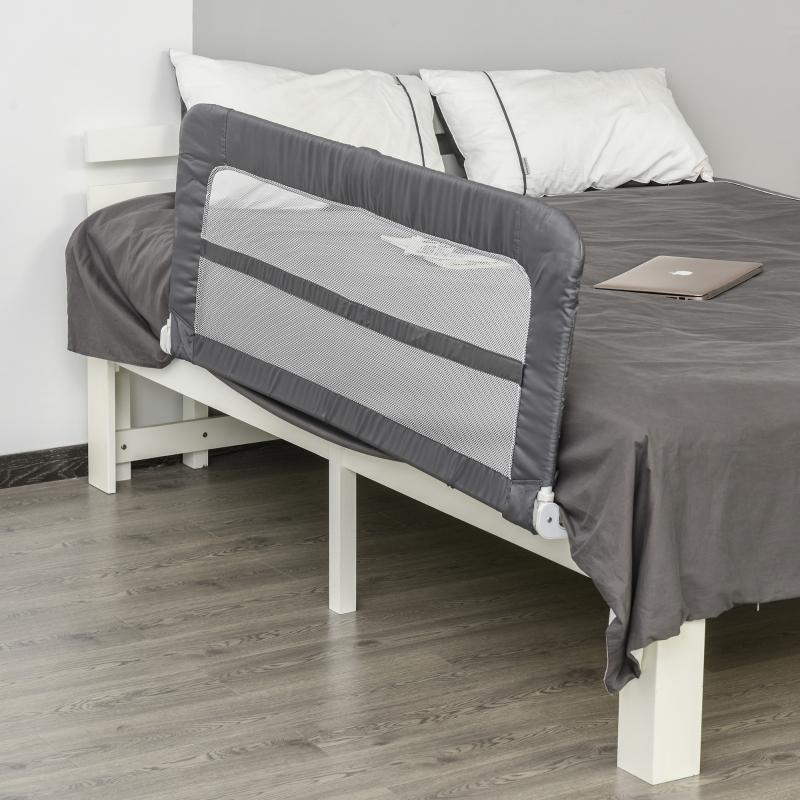 Barierka do łóżka 150 cm barierka ochronna na łóżko zabezpieczenie przed wypadnięciem dla małych dzieci składana szara