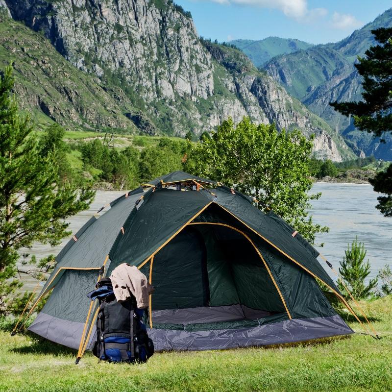 Podwójny namiot kempingowy quick-up 2 dorosłych + 1 dziecko wodoodporny torba 2 drzwi ciemna zieleń 210 x 210 x 140 cm Outsunny