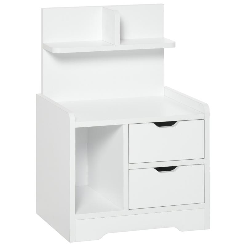 Szafka nocna z 2 szufladami nowoczesna szafka nocna z otwartą półką w kolorze białym