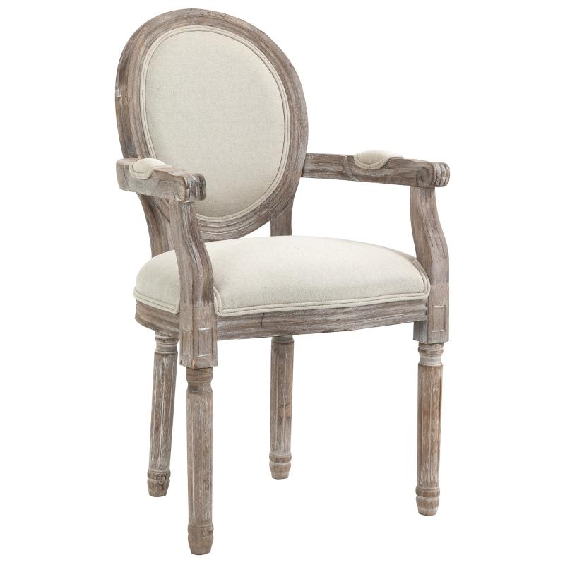 Krzesło do jadalni z podłokietnikami styl retro Krzesło tapicerowane drewno kremowobiały