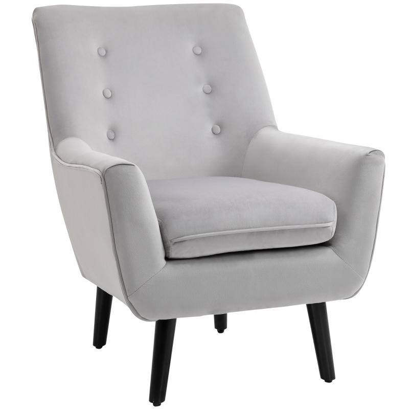 Fotel tapicerowany Sofa z Tubą Krzesło Pojedyncze Sofa Eleganckie Krzesło Retro Szare HOMCOM®