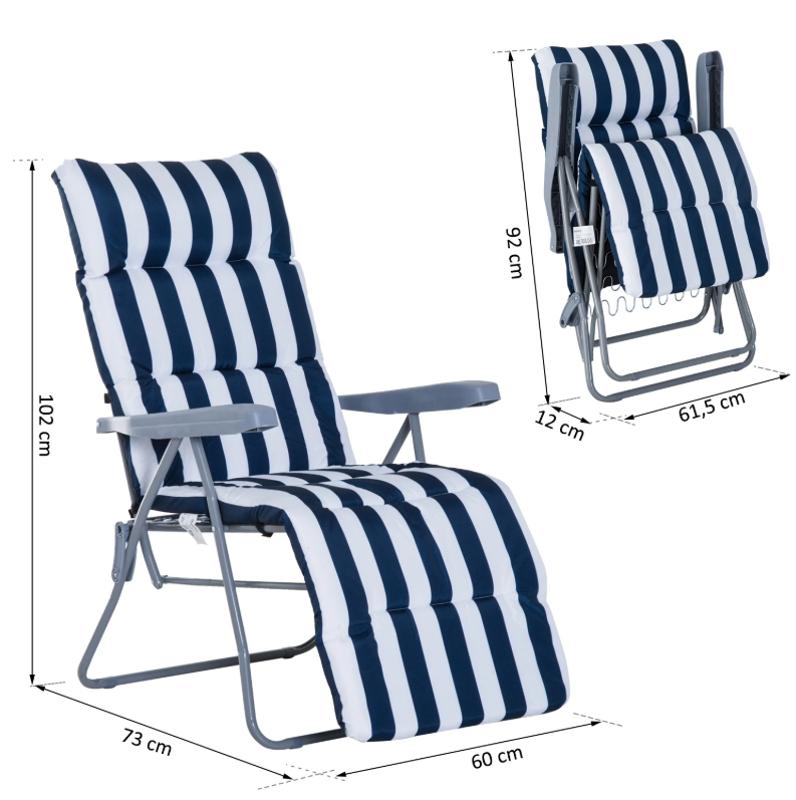 Outsunny® Leżak Ogrodowy Tarasowy Plażowy Składany x2