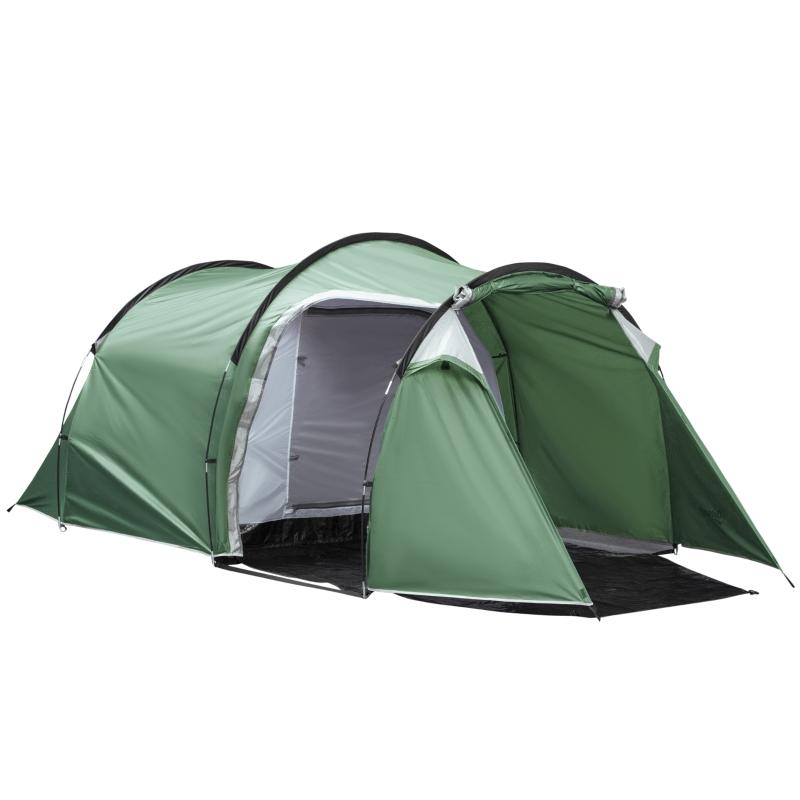 Namiot dla 3–4 osób Namiot tunelowy 190T Namiot kempingowy Włókno szklane ciemnozielony