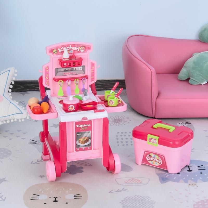 Kuchnia dla dzieci z 42 akcesoriami kuchnia do zabawy zabawa w kuchnię tworzywo sztuczne biała + różowa