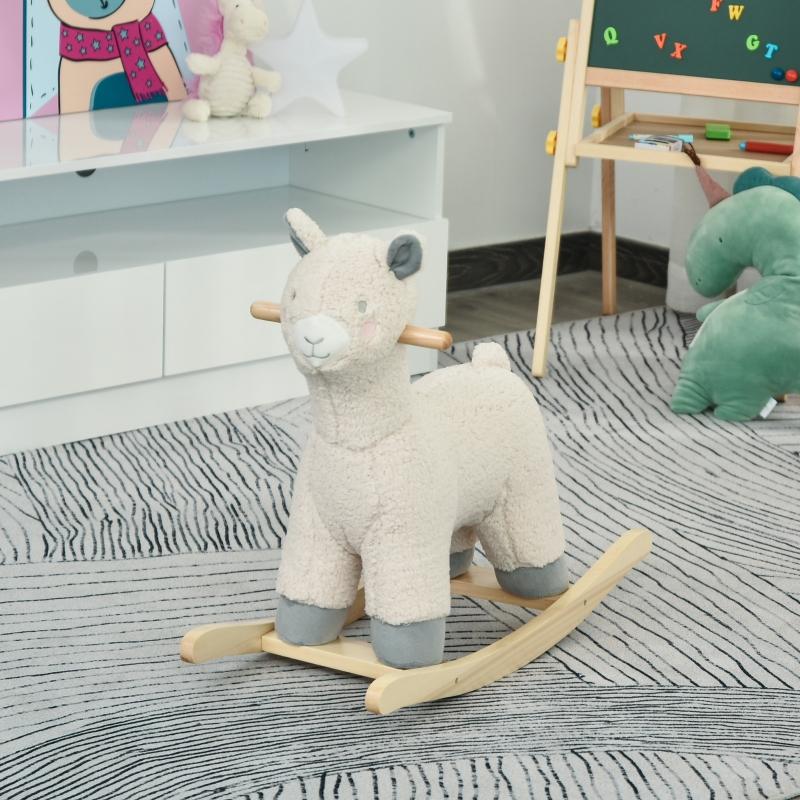 Koń na biegunach dla dzieci zwierzak na biegunach 18-36 miesięcy kolor kremowy