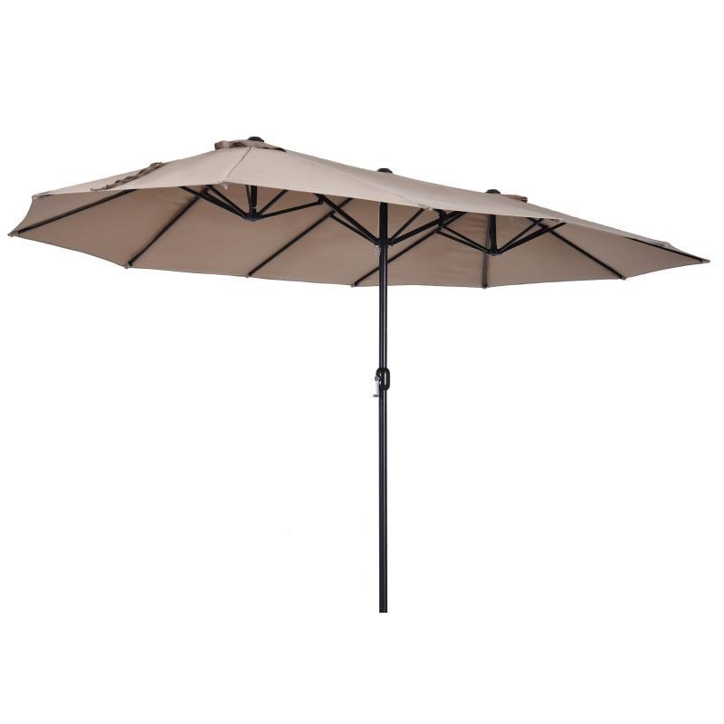 Podwójny parasol słoneczny owalny korbka ręczna ochrona słoneczna stal kawowy Outsunny