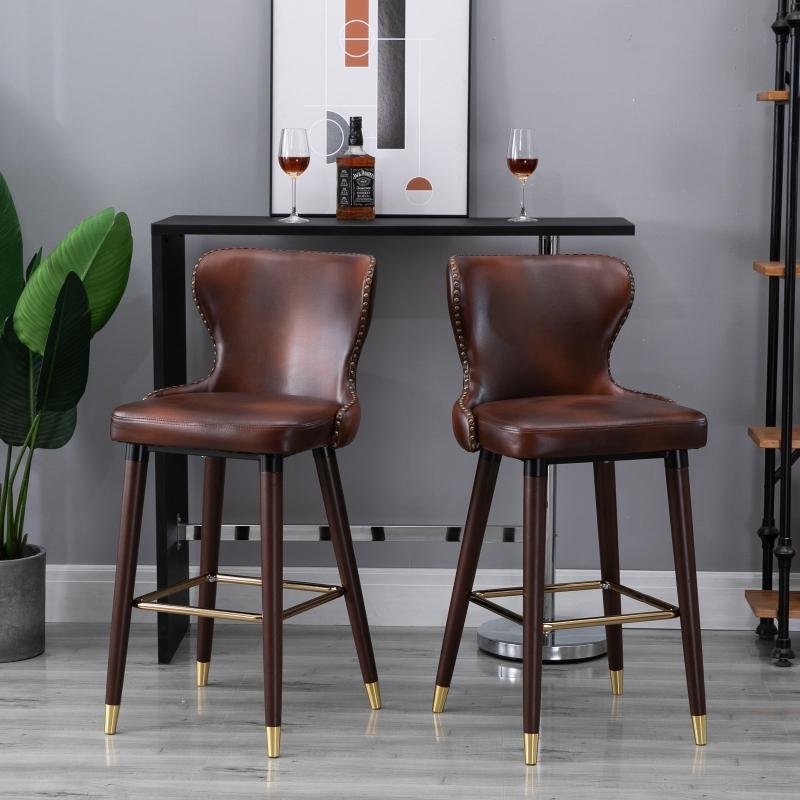 Homcom® Stołek Barowy Bistro Krzesło do Jadalni z Podnóżkiem Wysokie Oparcie Pu Brązowy