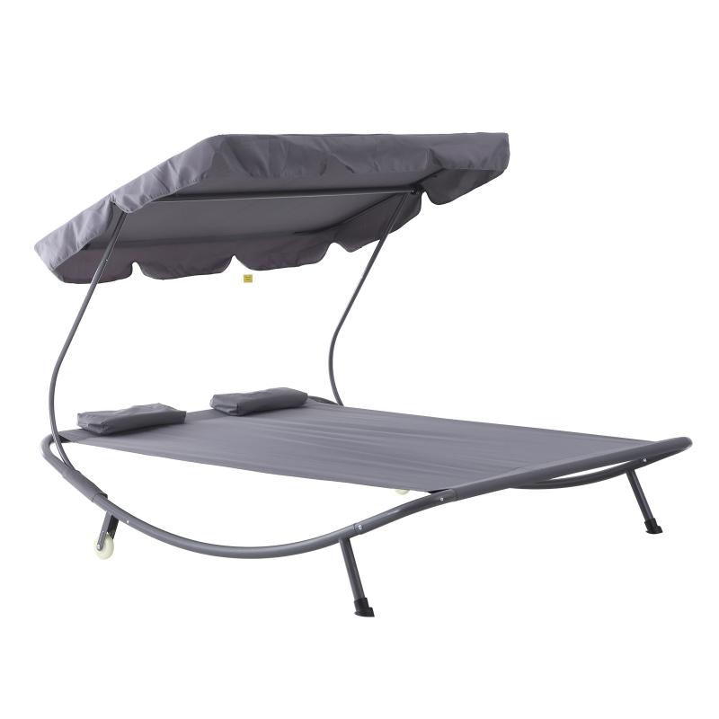 Dubbele ligbank ligbed relax lounger met zonnedak rolbaar staal crèmewit / grijs