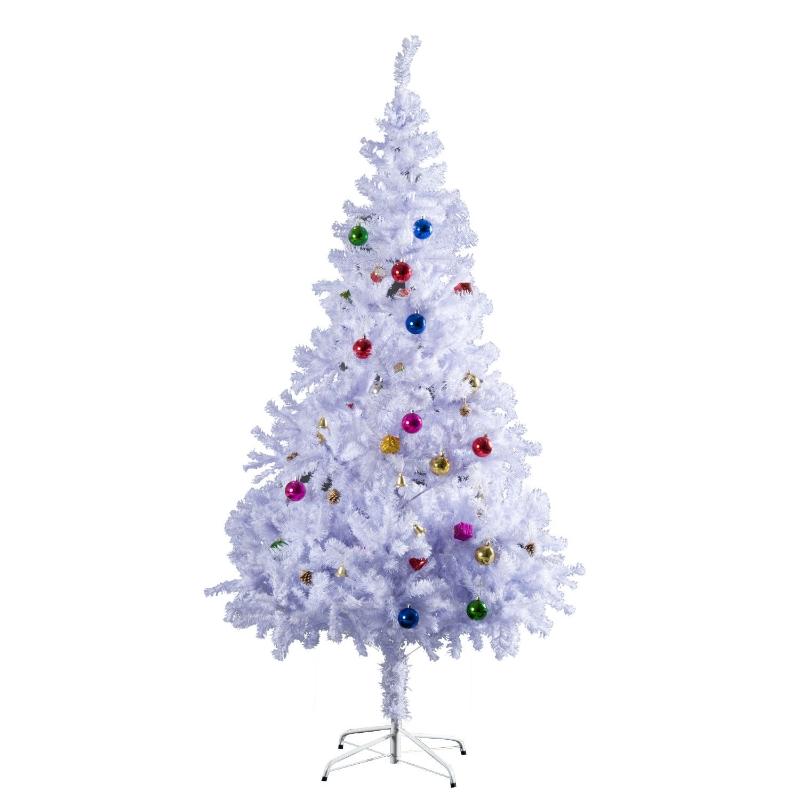 Kerstboom kerstboom kerstboom 150 / 180 cm PVC 680 punten incl. decoratie wit