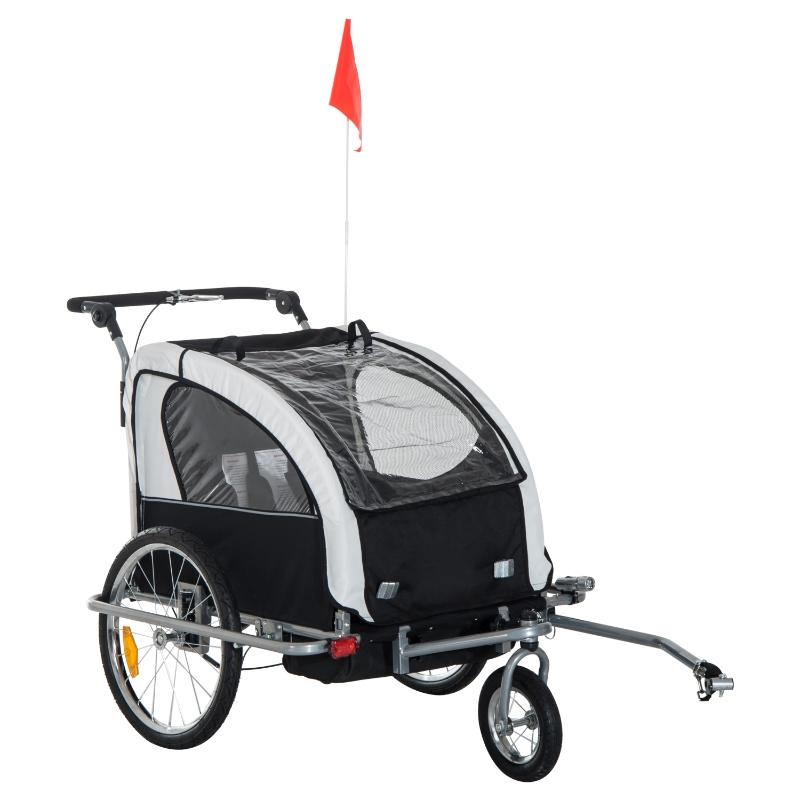 2-in-1 fietskar voor kinderen fietsaanhanger jogger fietskar 360° draaibaar wit-zwart