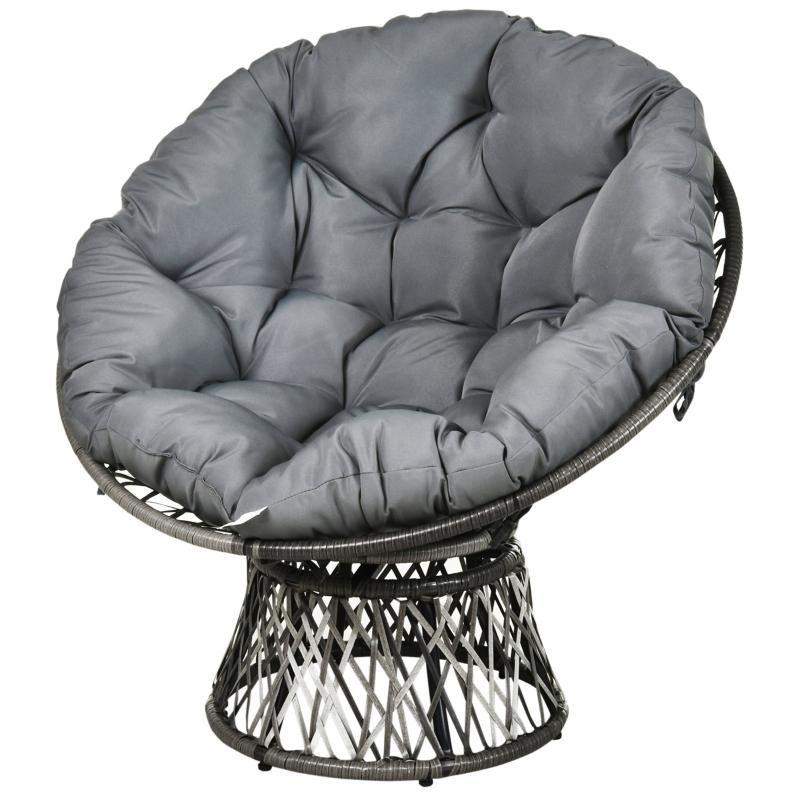Papasan fauteuil met bekleding rieten fauteuil 360 graden rotan grijs