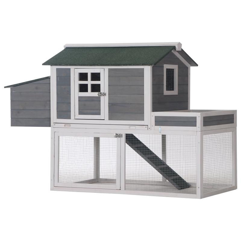 kippenhok kippenhuis met legnest plantenbak grijs hout metaaldraad asfalt
