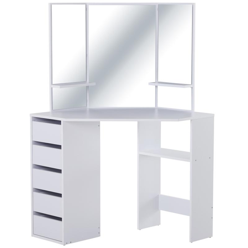 HOMCOM make-uptafel met 3 spiegels en 5 lades kaptafel