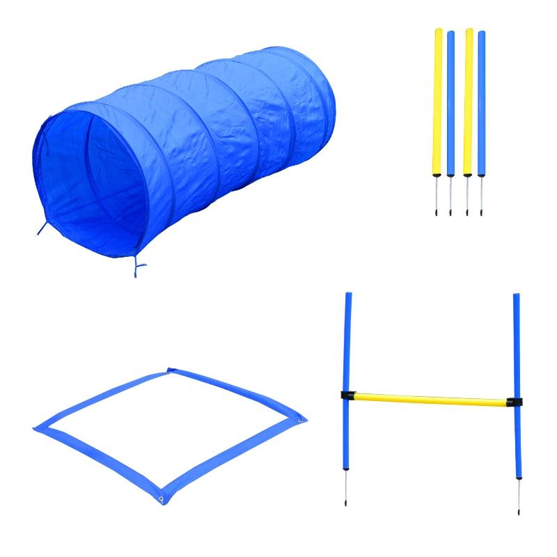 Honden behendigheidsset training slalom tunnel horde incl. draagtas oefening blauw / geel