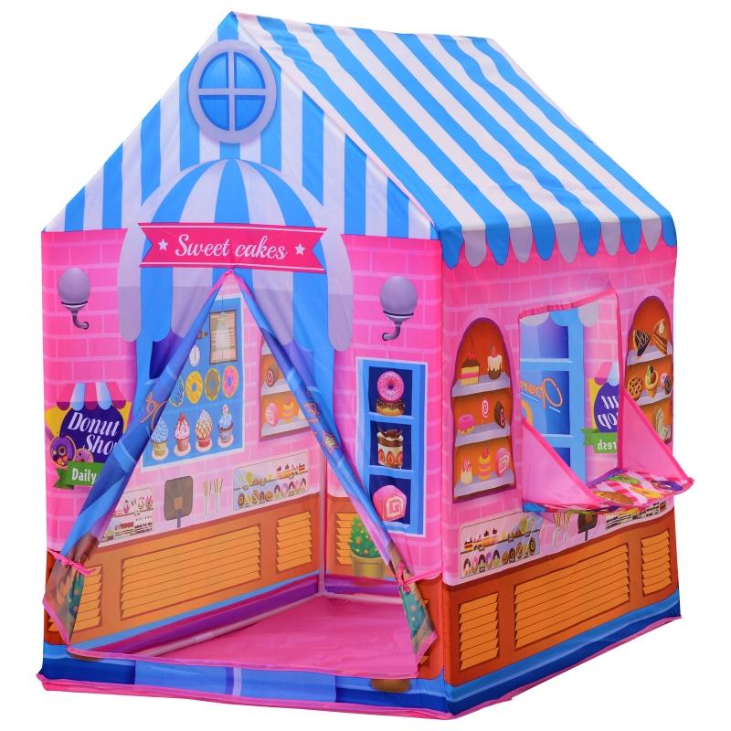 HOMCOM kinderspeelhuis speeltent snoephuis deur en verkoopvenster 3 jaar