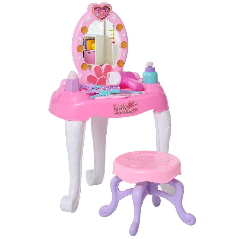 HOMCOM kinderkaptafel kaptafel met krukje 7 muziekstukken spiegel roze