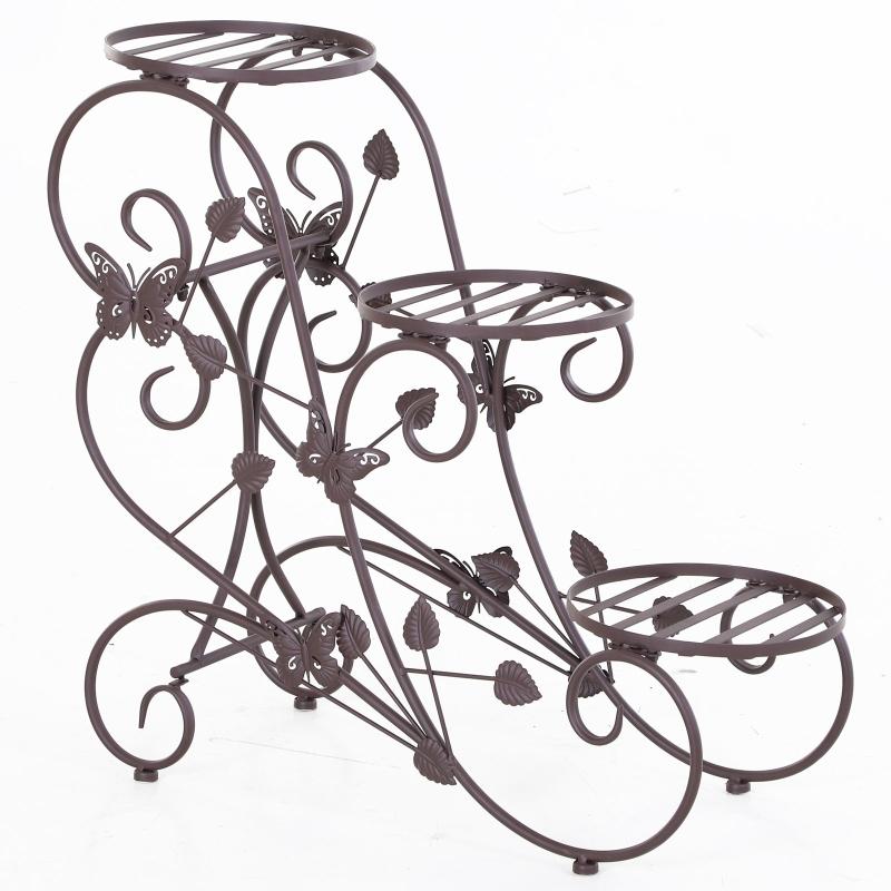 plantenplank bloemenstandaard met drie niveaus bloementrap plantenstandaard metaal brons