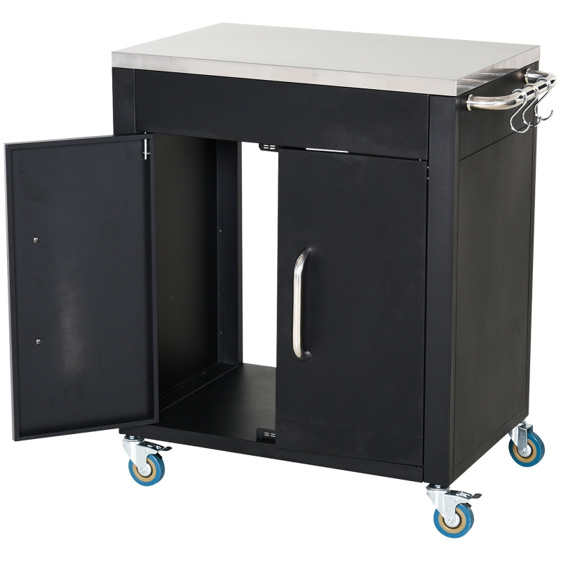 HOMCOM keukenwagen met wielen serveerwagen rvs zwart