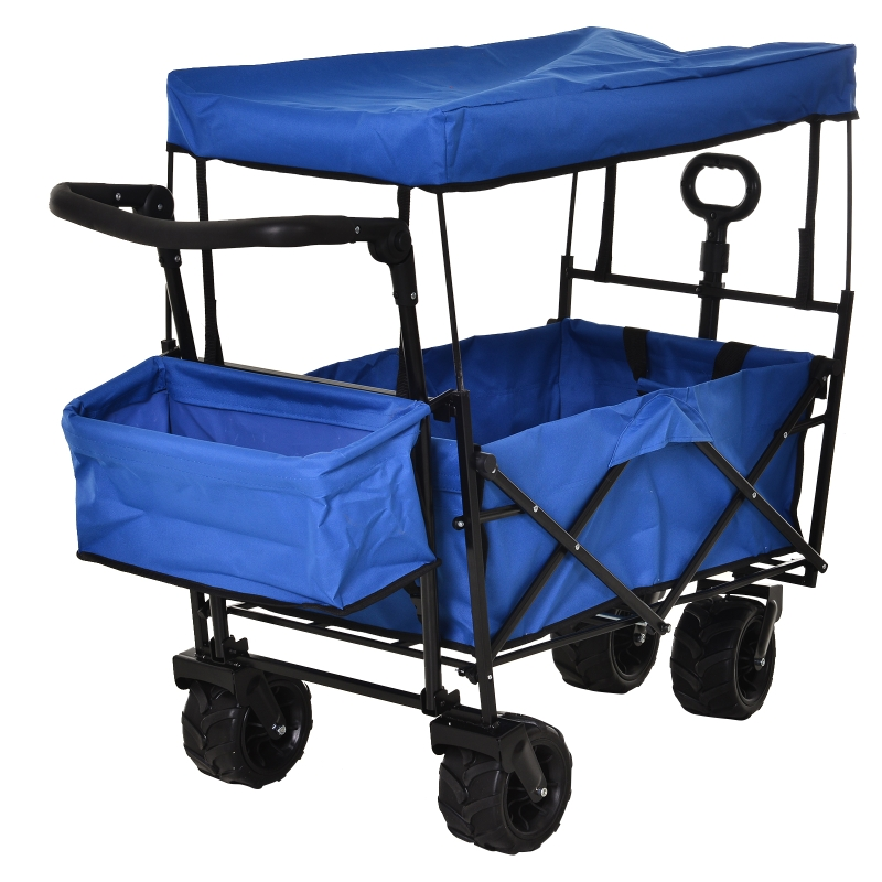 DURHAND Oxford Cloth Folding 2-Compartment Push/Pull Handle Trolley Cart Blue