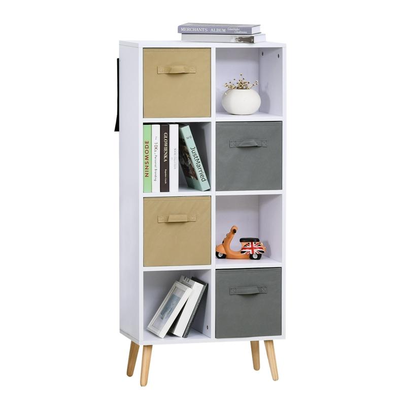 HOMCOM boekenplank keukenkast kubuskast vrijstaande stelling wit 54,5x24x122,5cm
