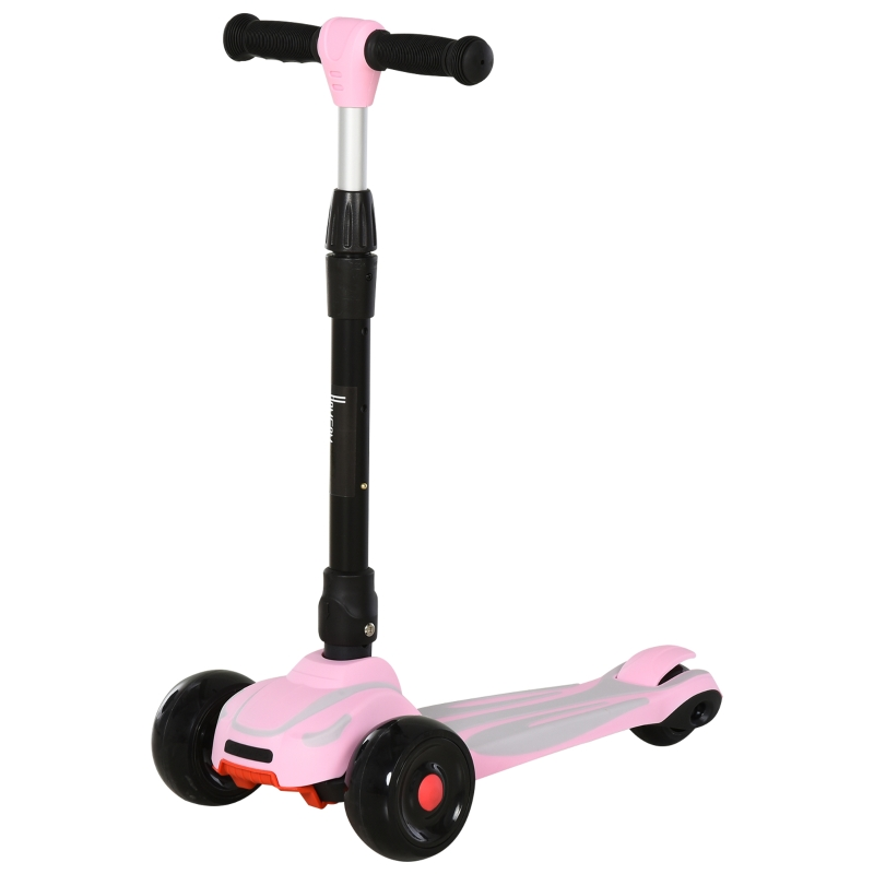 HOMCOM step scooter stadsscooter verstelbaar inklapbaar voor 3-6 jaar aluminium roze