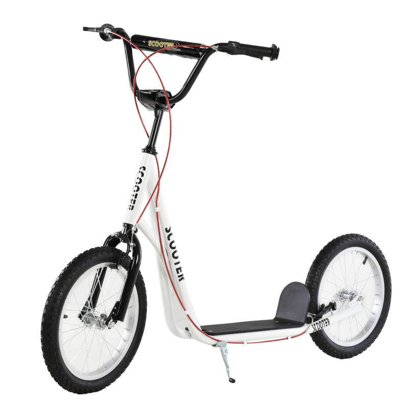 step scooter stadsscooter kinderen luchtband verstelbare step aluminium wit