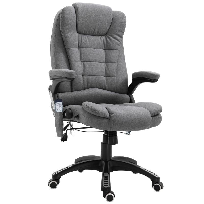 Massagestoel directiestoel gamingstoel draaistoel bureaustoel massage grijs