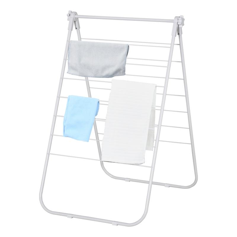 HOMCOM opvouwbaar wasrek, draagbare staander, metaal, kunststof, wit