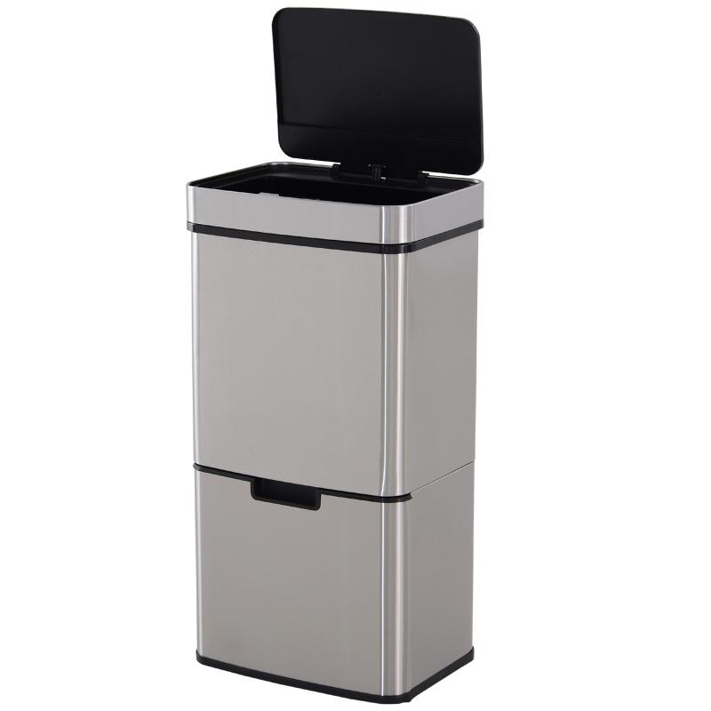 Afvalbak afvalscheidingssysteem prullenbak met sensor 72 L 3 vakken rvs zilver