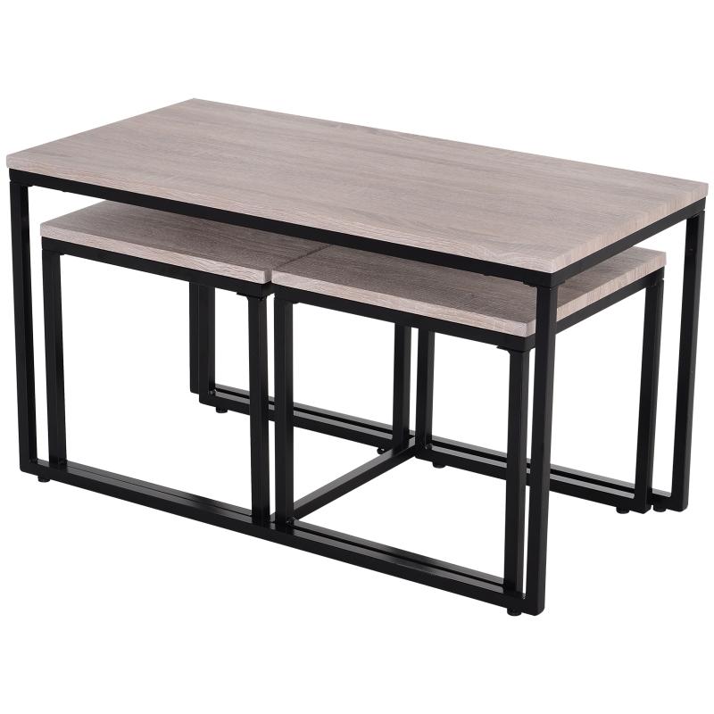 3-delige set bijzettafel salontafel nesttafel koffietafel metalen poot MDF naturel
