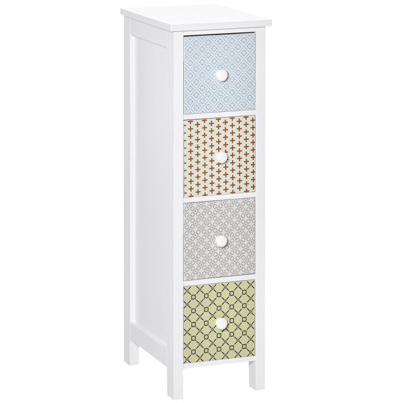 HOMCOM Chest of Drawers, 4 Drawer Dresser, Slim Storage Cabinet for Bedroom Living Room