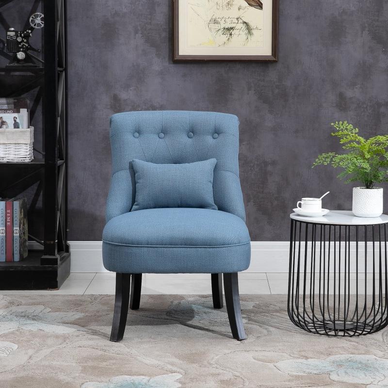 Fotel Z Poduszką Pod Plecy Do Oglądania Telewizji Podwyższone Nóżki Włókno Lniane Niebieski