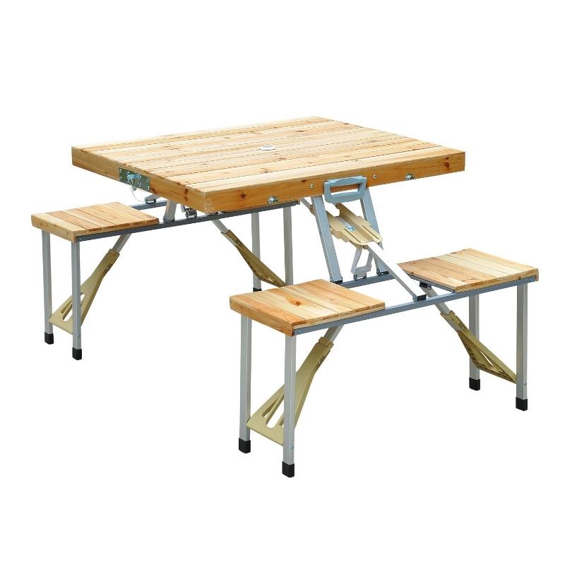 Outsunny Cunninghamia Board Portable Picnic Table Bench Set Silver