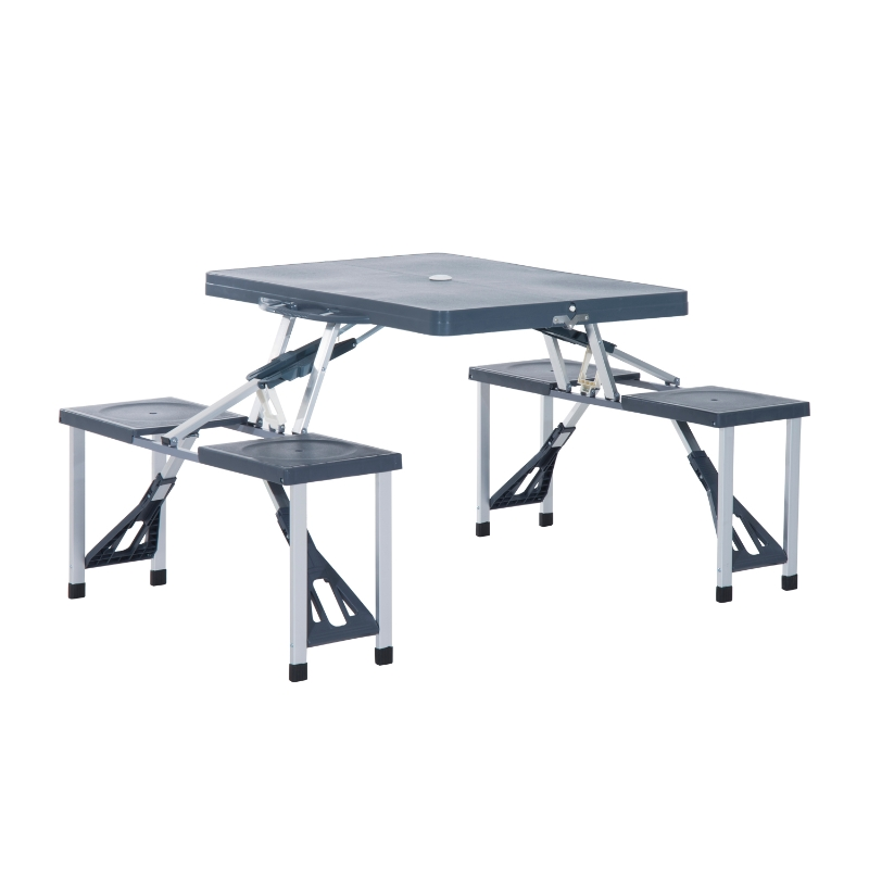 Outsunny Camping 4-Seat Table Set W/Chairs-Black/Grey