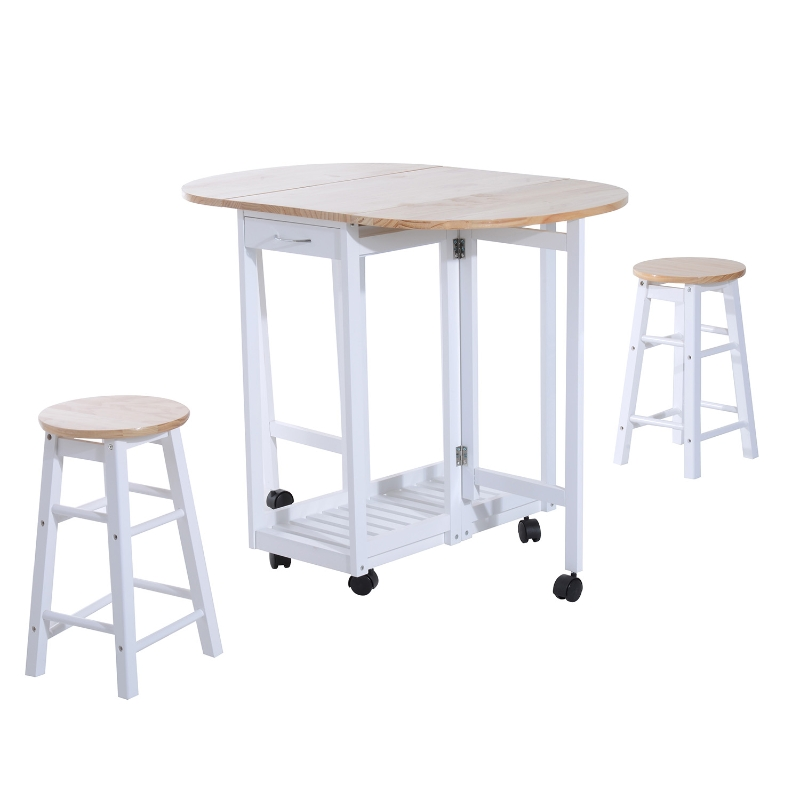 HOMCOM Pine Wood 3-Piece Compact Folding Dining Table with Stools White
