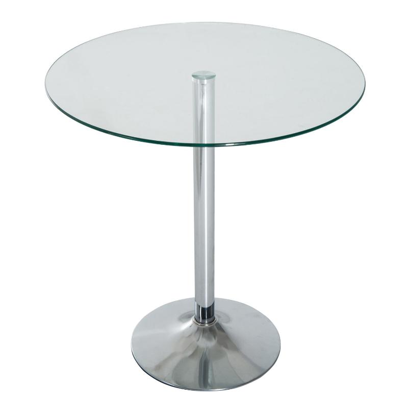 HOMCOM Round Bar Table W/ Glass Top-Transparent Glass, Silver