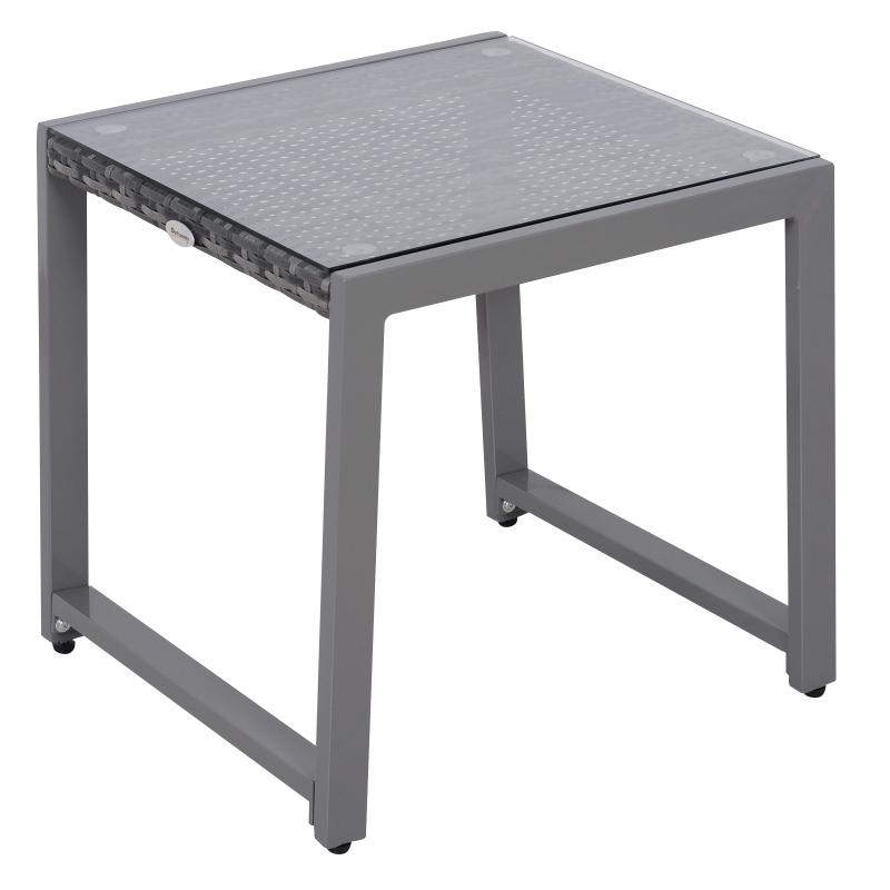 Outsunny Patio Rattan Side Table, 50L x 49.5W x 50Hcm-Grey