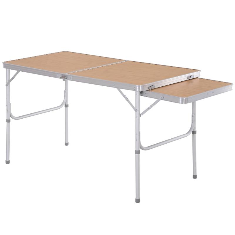 Outsunny Aluminium MDF-Top 4ft Folding Portable Outdoor Table Silver