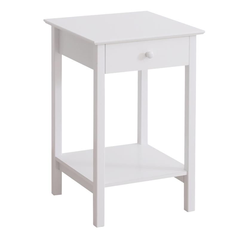 HOMCOM Wooden Bedside Table Cabinet W/ Drawer Shelf Storage Multipurpose End Side White Night Stand Bedroom