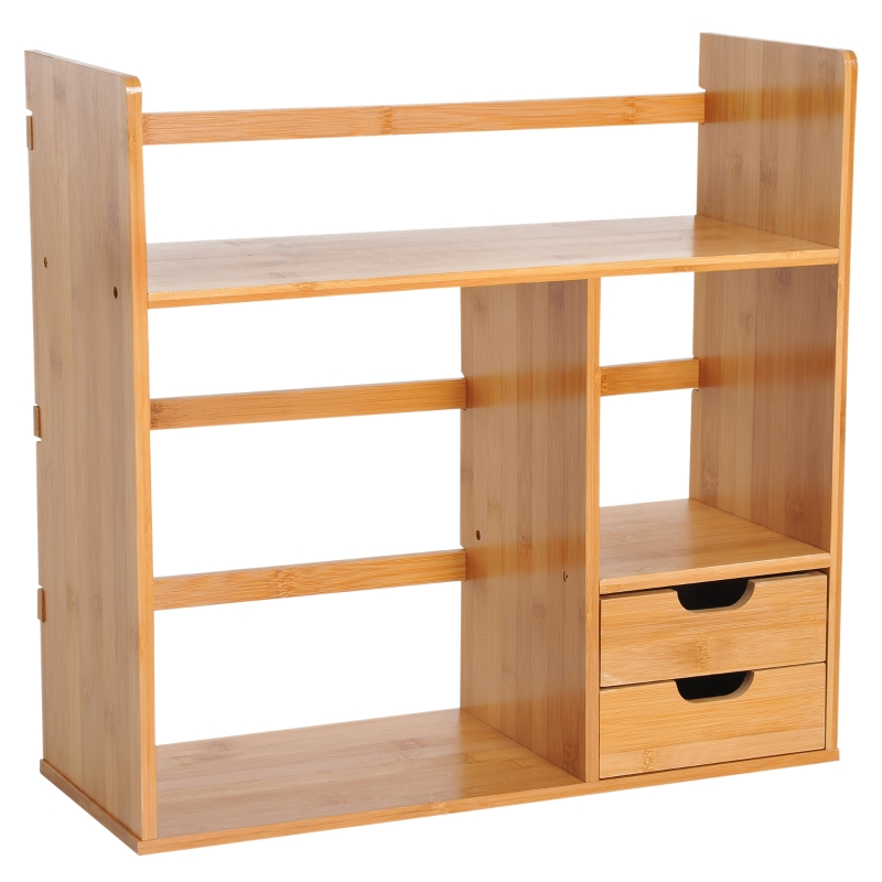 HOMCOM Bamboo Desk Organiser Desktop Bookshelf Storage Shelf 180 Degree Rotatable 2 Drawers
