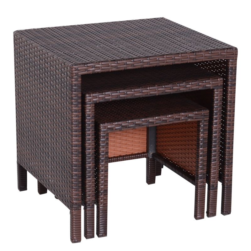 Outsunny Wicker Nesting Tables Snack End Side Tables Hand Woven All Weather Set of 3