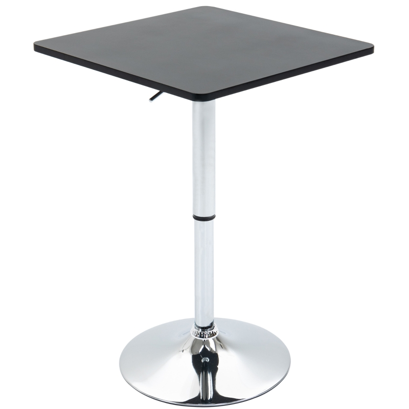 HOMCOM Modern Height Adjustable Bar Table with Square Tabletop and Metal Base Home Pub