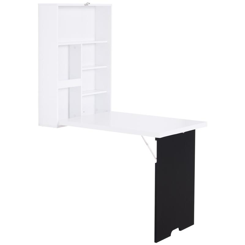 HOMCOM MDF Folding Wall-Mounted Drop-Leaf Table with Chalkboard Shelf White